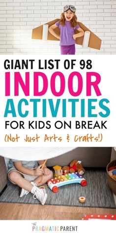 Inside you'll find a giant list of 98 indoor activities for kids, especially if you're on break, experiencing a school closure, summer break, or actual quarantine right now. #indooractivities #indooractivitiesforkids #listofactivitiesforkids #activitiesforkids #ideasforkidsstuckinside