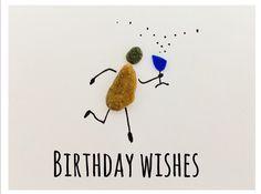Happy Birthday & cheers Pebble sea glass art pictures