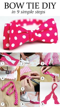 Learn how to make your own bow ties with this easy DIY bow tie sewing guide. Make your own bow tie in 6 simple steps. Sewing Hacks, Sewing Tutorials, Sewing Projects, Sewing Patterns, Make A Bow Tie, How To Make Bows, Diy Bow Ties, Bow Tie Tutorial, Baby Headband Tutorial