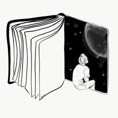 Reading is Dreaming with Your Eyes Open by Henn Kim Vector line art drawing / il. Sad Drawings, Cool Art Drawings, Pencil Art Drawings, Art Drawings Sketches, Art And Illustration, Stylo Art, Pen Art, Art Sketchbook, Doodle Art