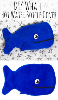 diy whale hot water bottle cover craft, sewing craft projects, felt crafting ideas, handmade whale