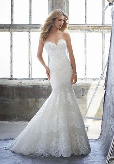 Mori Lee Fitted Mermaid Gown Featuring Delicately Beaded Embroidery with Scalloped Bands on Net. A Sweetheart Bodice and Exposed Boned Illusion Back Complete the Look. Available in Three Lengths: Colors Available: White, Ivory, Ivory/Champagne. Mori Lee Bridal, Mori Lee Wedding Dress, Wedding Dresses 2018, Wedding Dress Styles, Designer Wedding Dresses, Bridal Dresses, Dress Wedding, Mermaid Dresses, Mermaid Gown