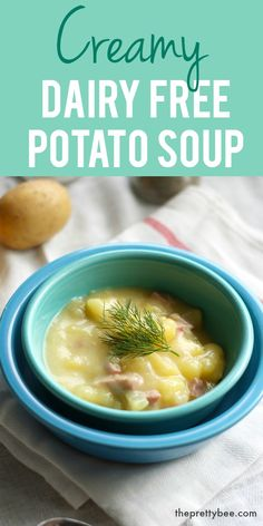 Dairy Free Potato Soup with Ham. - This easy dairy free potato soup with ham is creamy and comforting! -Creamy Dairy Free Potato Soup with Ham. - This easy dairy free potato soup with ham is creamy and comforting! Dairy Free Potato Soup Recipe, Ham And Potato Soup, Dairy Free Soup, Creamy Potato Soup, Ham Soup, Potato Diet, Vegan Potato Soup, Turkey Soup, No Dairy Recipes