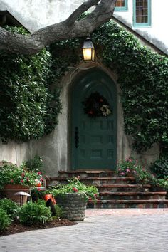 Lovely entry with brick steps and rounded doorway. Cottage Door, Tudor Cottage, Cottage Living, Cozy Cottage, Porches, Portal, Storybook Cottage, Cool Doors, Gardens