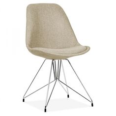 Eames Inspired Beige Upholstered Dining Chair with Geometric Metal Legs
