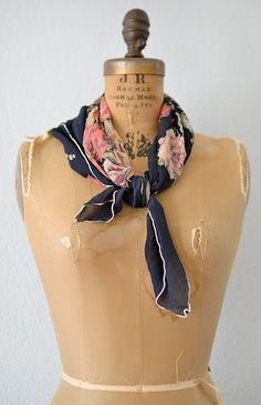 vintage silk floral scarf | Pedigree Garden Scarf | Adored Vintage