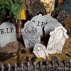 Use Jute Roll, bags of moss, and faux tombstones for an old, haunted cemetery look.