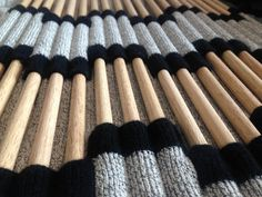Experimental knit sample using innovative knitted textiles & wood to create pattern & structure // Laura Newton