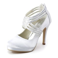 White satin strappy heels with rhinestone detail