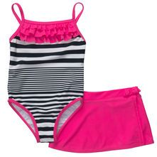 1-Piece Striped Swimsuit With Matching Skirt
