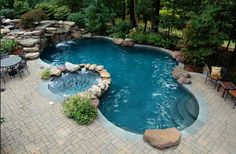 Maryland Pools, Inc. - Sophisticated Inground Swimming Pool Design and Construction Hot Tub Backyard, Backyard Pool Landscaping, Backyard Pool Designs, Backyard Retreat, Swimming Pool Designs, Backyard Ideas, Backyard Shade, Landscaping Ideas, Pool Spa