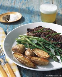 Marinated Strip Steak With Grilled Scallions & Feta Recipe ...
