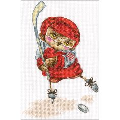"""Shoot The Puck! Counted Cross Stitch Kit-6""""X6.25"""" 14 Count"""