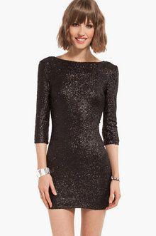 Sparkler Sequin Dress in Black- great holiday dress