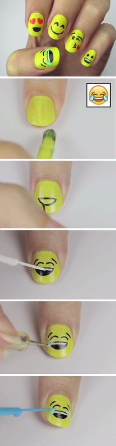 Super cute emoji nail art tutorial.