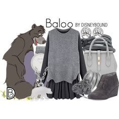 Baloo by leslieakay on Polyvore featuring TOMS, Larsson & Jennings, Karen Kane, George & Laurel, Wallis, disney and disneybound