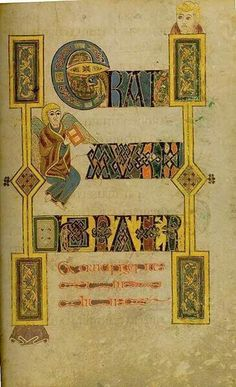 Bible Text: the Book of Kells Medieval Books, Medieval Manuscript, Medieval Art, Book In Latin, The Book, Celtic Patterns, Celtic Designs, Illuminated Letters, Illuminated Manuscript