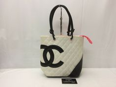 b0ebdfb1dfca #FORSALE Auth CHANEL Cambon Line Quilted Leather White/Black tote Bag  8L120570n - $120