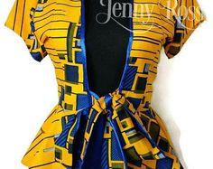 African print top African print women Blouse Peplum Top