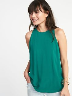 ef389554175 Relaxed High-Neck Sleeveless Top for Women High Neck Shirts, High Neck  Blouse,