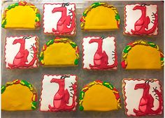 These decorated sugar cookies will make an adorable addition to your Dragons Love Tacos themed party! Listing is for ONE DOZEN cookies (6 Tacos and 6 Dragons) Cookies are made-to-order. Please place at least TWO weeks prior to event date to allow for decorating/shipping time. Please Dragons Love Tacos Party, Dragon Cookies, Mexican Tacos, 4th Birthday, Birthday Ideas, Taco Party, Sugar Cookies, Party Planning, Party Themes