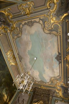 When feeling blue -- look up clouds surround robins egg blue sky -- baroque ceiling. Gypsum Ceiling, Ceiling Panels, Baroque Decor, Baroque Architecture, Architecture Design, French Style Homes, Decorative Panels, Ceiling Medallions, Classical Art