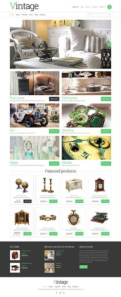 Template 49069 - Vintage & Antique Store Responsive WooCommerce  Theme