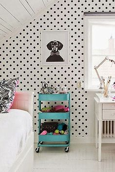 Black and white Polka dot Self adhesive bedroom Removable vinyl wallpaper 003