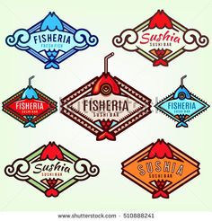 Identity Elements for Seafood Restaurant, Sushi Bar, Fish Market, Food Delivery Company. Signboard Design. Logo Templates
