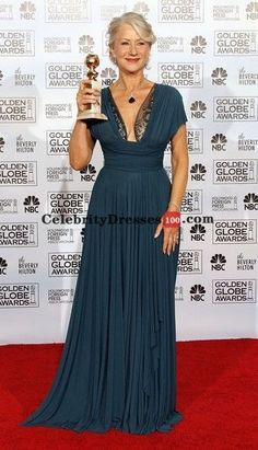 Teal Blue Chiffon Evening Prom Gowns Celebrity Dress
