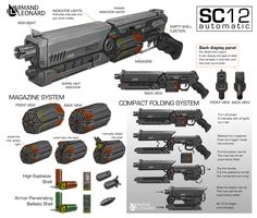 Commission: Armand Leonard by aiyeahhs on DeviantArt Sci Fi Weapons, Weapon Concept Art, Fantasy Weapons, Weapons Guns, Sci Fi Fantasy, Military Weapons, Sci Fi Waffen, Rifles, Iron Sights