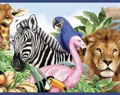 "Jungle Animals Free Style 12' x 6"" Wildlife Border Wallpaper"