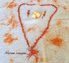 Collana e orecchini corallo e argenti, by vetrina miriam chiocciola, 35,00 € su misshobby.com