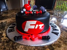 Gym theme birthday cake #fit #weights #crossfit
