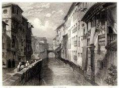 Calle Reyes Católicos. Puente del Carbón aguas arriba, desde plaza del Carmen  John Frederick Lewis (1833-34)