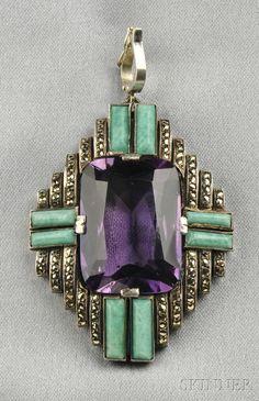 Jugendstil Silver, Amethyst, and Amazonite Pendant, Theodor Fahrner