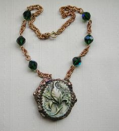 Repurposed Vintage Necklace Celluloid Iris Flower Buckle Necklace Tourmaline Green Glass Bead Vintage Assemblage Jewelry