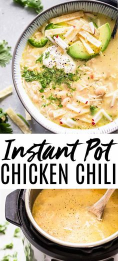 This Instant Pot White Chicken Chili can be made in under 30 minutes with the help of your pressure cooker. This Instant Pot White Chicken Chili can be made in under 30 minutes with the help of your pressure cooker. Pressure Cooker Chicken, Instant Pot Pressure Cooker, Pressure Cooker Recipes, Slow Cooker, Frozen Chicken Recipes, Healthy Chicken Recipes, Creamy White Chicken Chili, Green Chili Chicken, Chicken Curry