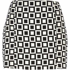 River Island Black and white square print mini skirt £18.00
