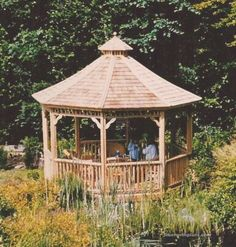 This garden gazebo plans fits perfectly in your garden Enclosed Gazebo, Large Gazebo, Hot Tub Gazebo, Raised Bed Garden Design, Gazebo Plans, Built In Bench, Patio Lighting, Eclectic Decor, Building Plans