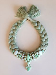 Green Pastel Melange Statement Bib Hand made Necklace Yarn Necklace, Bride Necklace, Collar Necklace, Fabric Jewelry, Diy Jewelry, Handmade Jewelry, Jewelry Making, Jewellery, Maxi Collar