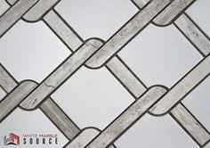 Wire Mesh Light Mosaic  Polished (THW-011)   #Whitemarblesource #mosaic #marble #white #interiordesign #showroom #design #architecture #construction #whitetile #backsplash #wiremesh