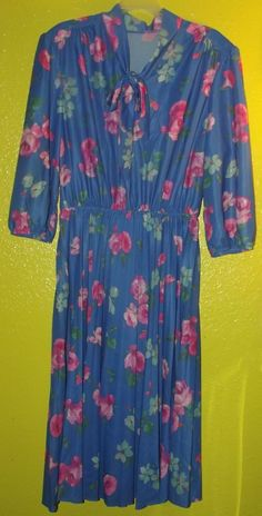Vintage 70s 80s Blue Floral Pussy Bow Pleat Skirt Dress Sz M/L Elastic Waist #Unbranded #PUSSYBOW #Everyday