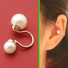 Double Pearls Ear Bone Ear Cuffs (Reversible,Single,No Piercing) | LilyFair Jewelry, $10.99!