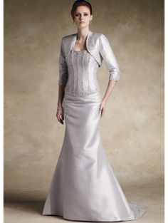 Two-Piece Long Sleeves Beaded Satin Mother Of Bride And Groom Dress