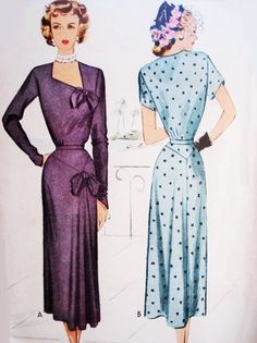 STUNNING Day or Evening Cocktail Dress Pattern McCALL 7542 Beautiful Design Bust 34 Vintage Sewing Pattern-Authentic vintage sewing patterns: This is a fabulous original dress making pattern, not a copy. Because the sewing patterns are vintage Motif Vintage, Vintage Dress Patterns, Clothing Patterns, Vintage Outfits, Retro Outfits, Vintage Dresses, Vintage Clothing, 1940s Dresses, Modest Dresses