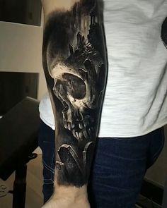 finished at Fusion Ink killer - Tattoo Catalog Black Tattoo Art, Dark Tattoo, Black Tattoos, Creepy Tattoos, Badass Tattoos, Bild Tattoos, Neue Tattoos, Forarm Tattoos, Body Art Tattoos