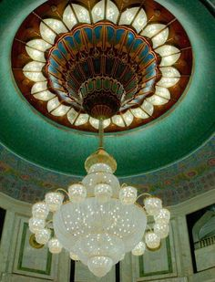Beautiful Stained Glass Ceiling and Chandelier