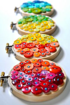 Rainbow button embroidery ~ button craft