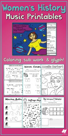 Great music worksheets for Women's History month with color-by-music note, a Fanny Mendelssohn glyph, and rhythm and pitch activities. Teaching Orchestra, Teaching Music, Music Activities, Holiday Activities, Music Mix, Fun Music, Music Games, Elementary Music Lessons, Elementary Education